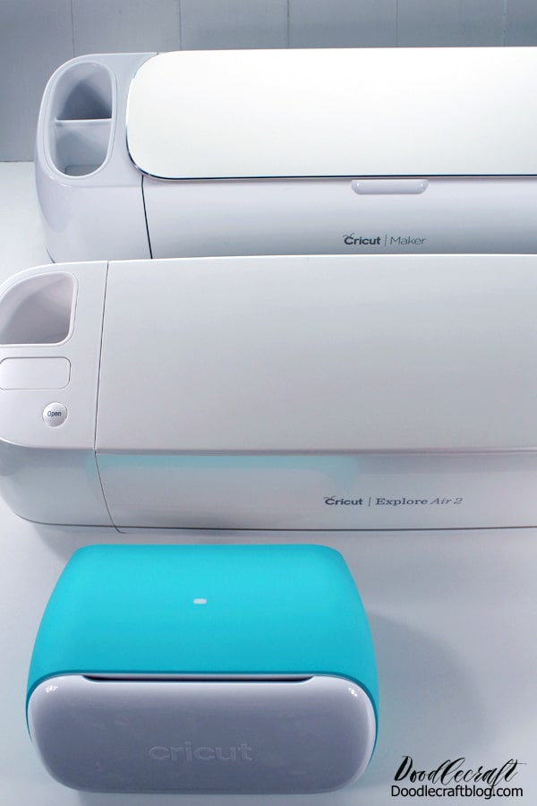 The Cricut Maker, Cricut Explore Air 2 and the new Cricut Joy, size comparison