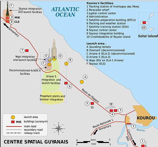 Centre Spatial Guyanais outside Kourou, French Guiana (Source: Wikipedia)