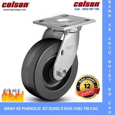 Bánh xe Phenolic chịu nhiệt càng xoay 150mm Colson Mỹ| 4-6109-339 www.banhxedayhang.net