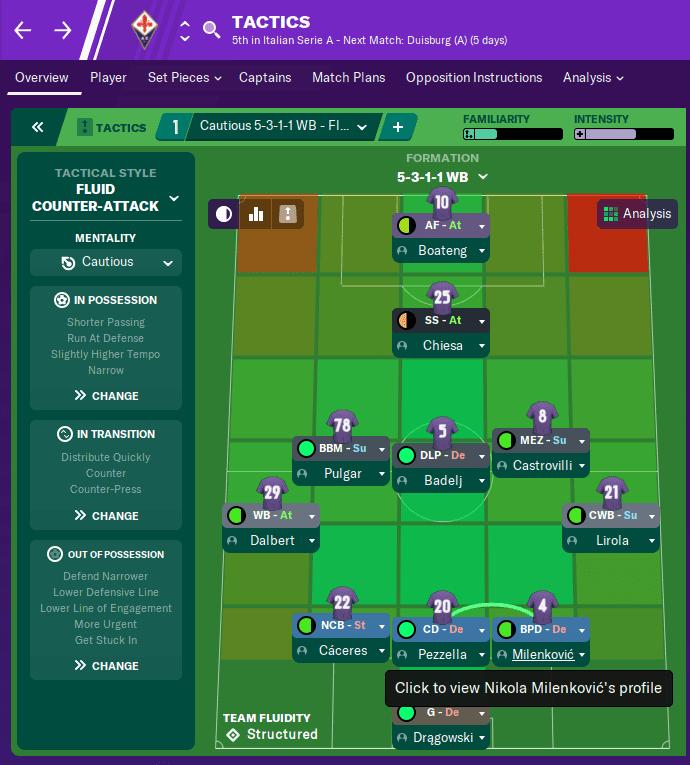 FM20 Fiorentina Tacitc