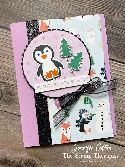 Stampin 'Up! Penguin Place Bundle; Penguin Builder Punch; Sale a Bration Penguin Playmates DSP; DSP card; Black Glitter Paper; Black Glittered Ribbon; Layering Circles Dies.  #StampinUp #StampTherapist #PenguinPlace #PenguinPlaymates #Saleabration