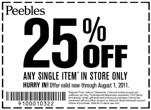graphic relating to Peebles Printable Coupon titled Inside-Retail store Printable Coupon codes, Price savings and Bargains! Printable