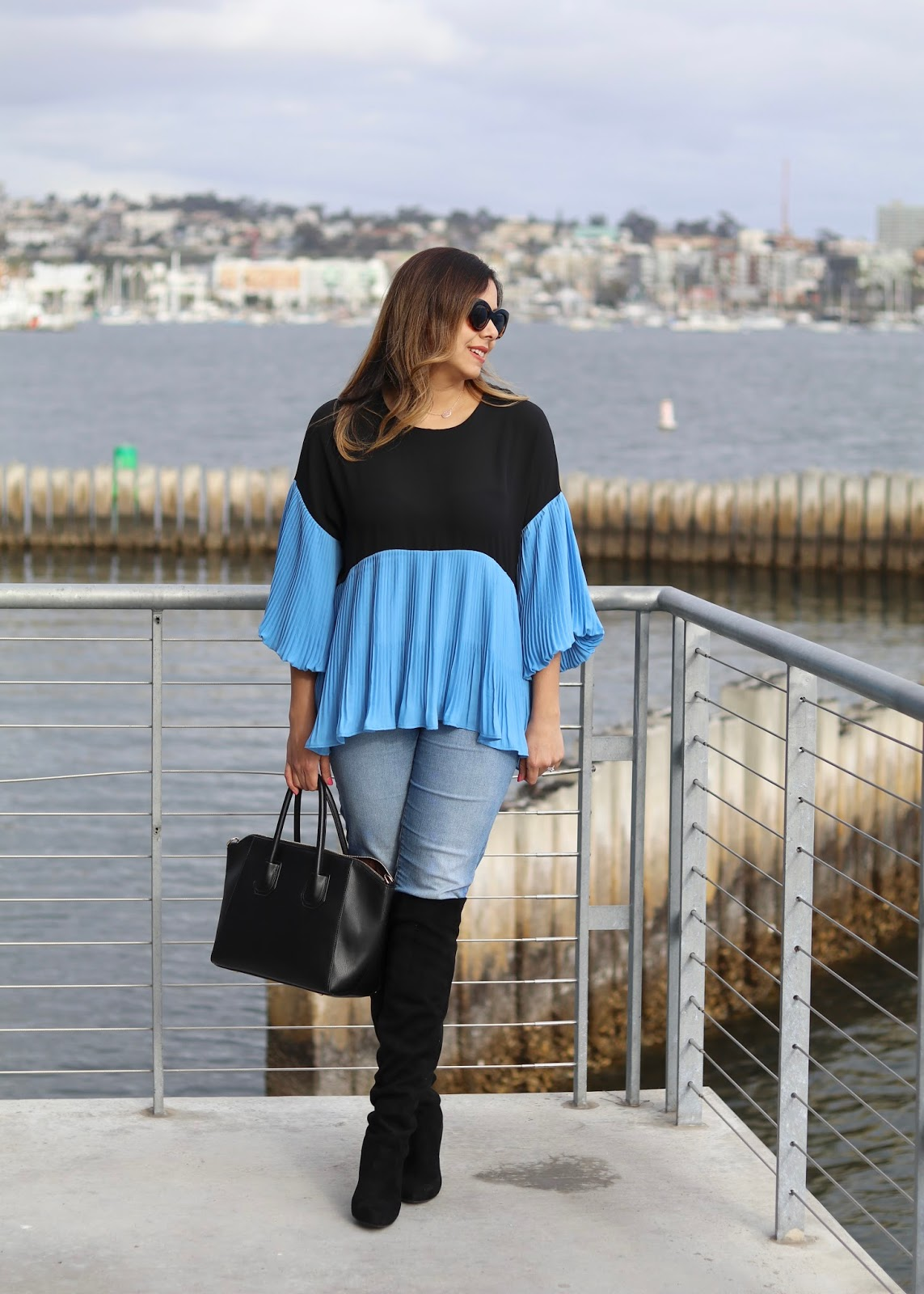 blue pleated top, bell sleeve top, how to wear bell sleeves, unique fashionable tops