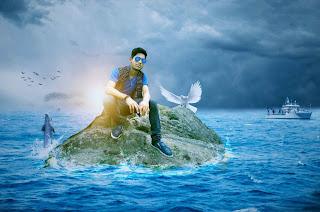 ocean background, ocean manipulation, cool blue photo, boy in ocean,
