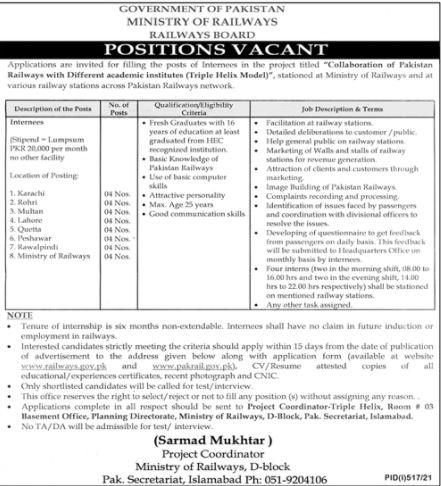 JOBS | Government of Pakistan Ministry of Railways (Railways Board)