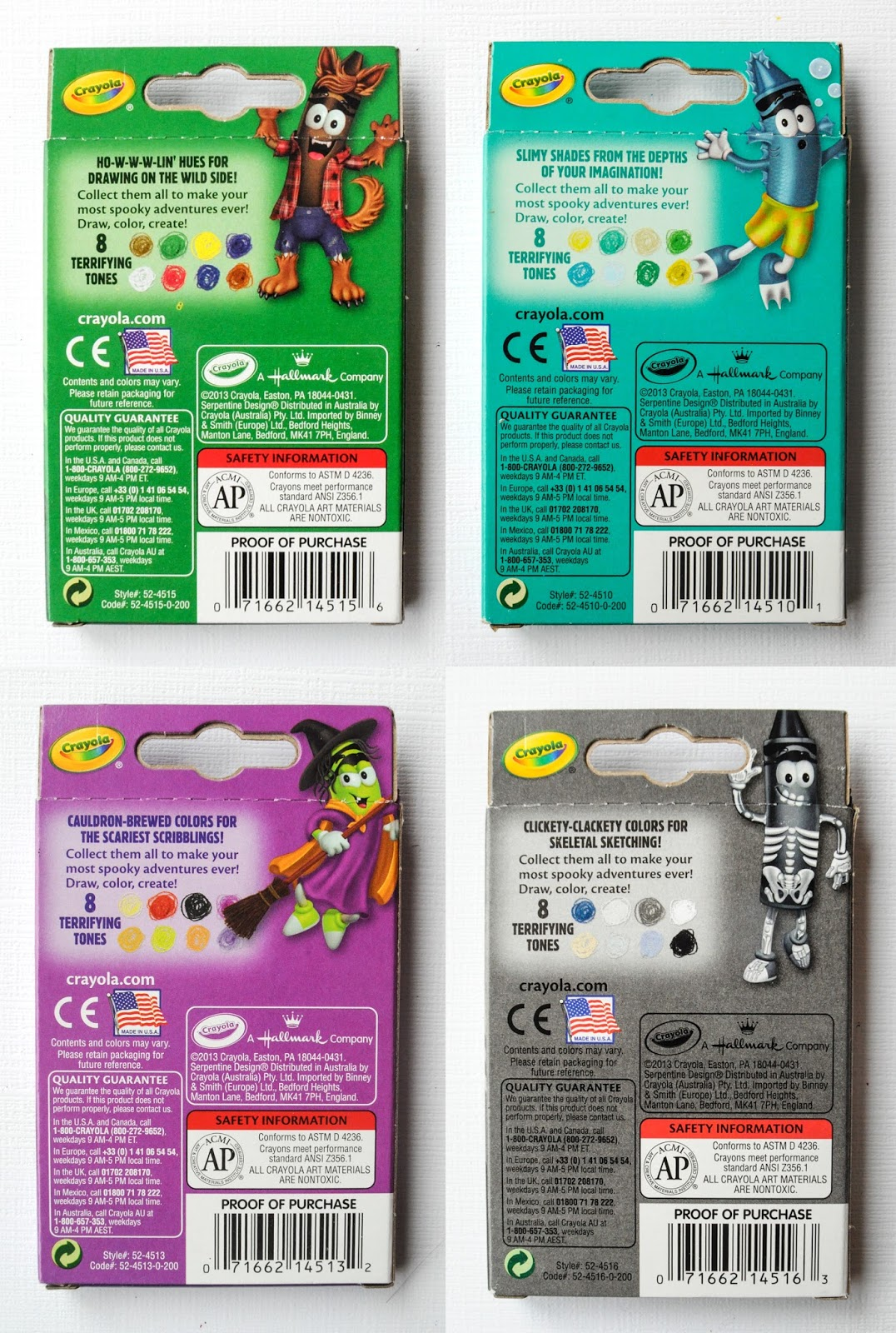 back of the tip collection boxes - Crayola Halloween 2