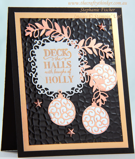 #thecraftythinker #stampinup #cardmaking #christmascard #brightlygleaming #2019holidaycatalogue , Christmas card, Brightly Gleaming Suite,Hammered 3D embossing folder, 2019 Holiday Catalogue, Stampin' Up Demonstrator, Stephanie Fischer, Sydney NSW
