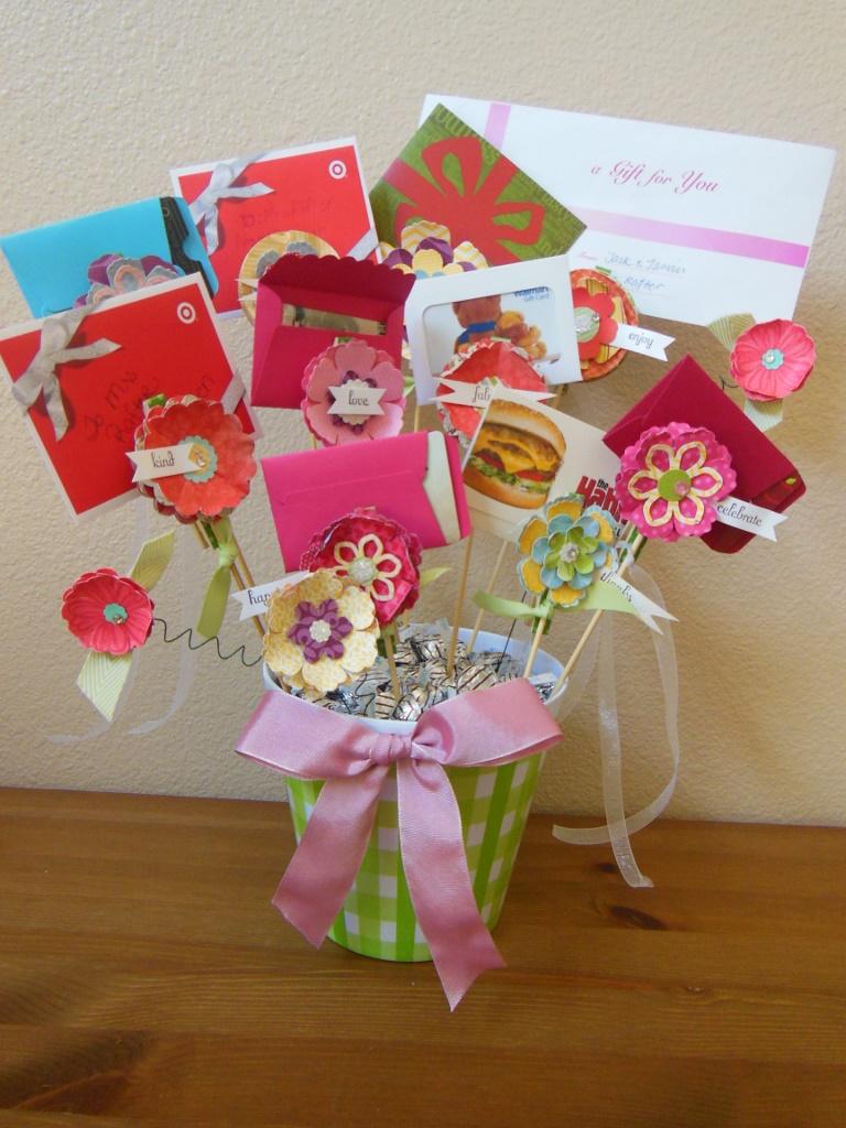gift card flower bouquet