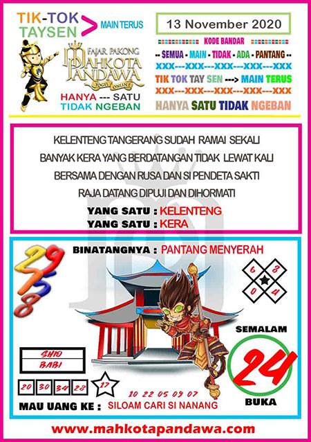 Syair Mahkota Pandawa Sabtu 14 November 2020
