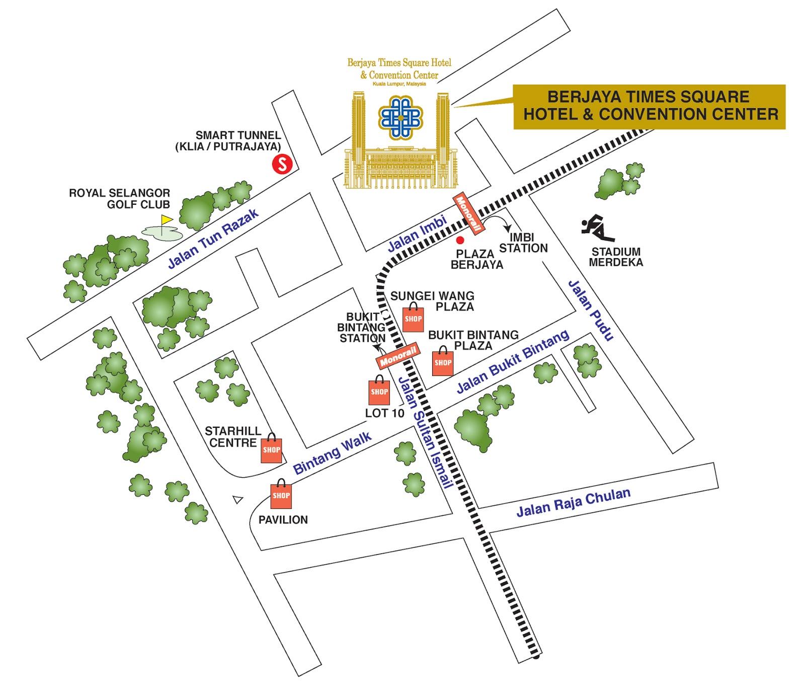 berjaya times square hotel kl - map