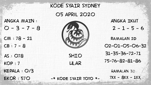 Syair Sidney Minggu 05 April 2020 - Kode Syair Sydney