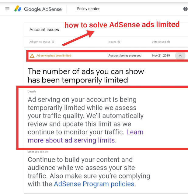 How to solve and remove AdSense ads limited