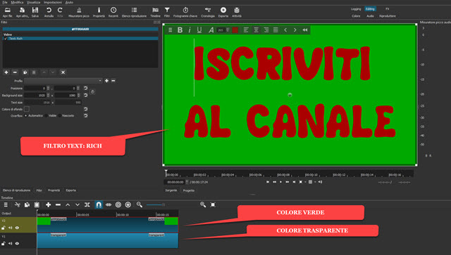 filtro text rich su shotcut
