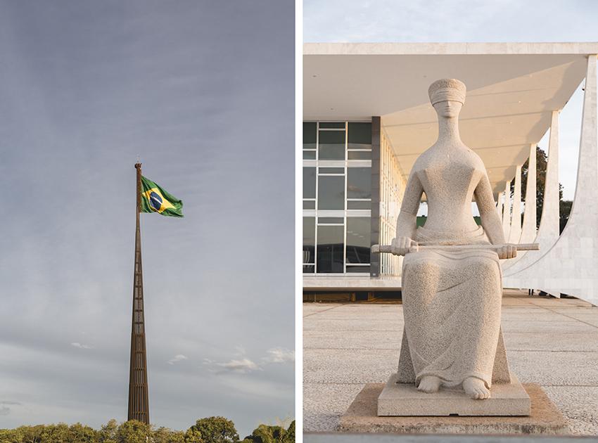 bandeira do brasil e símbolo da justiça