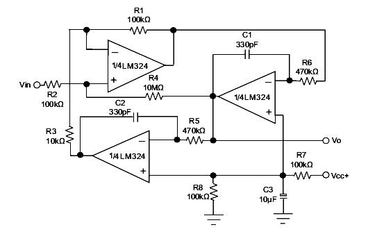 LM324 Active Bandpass Filter Circuit Diagram