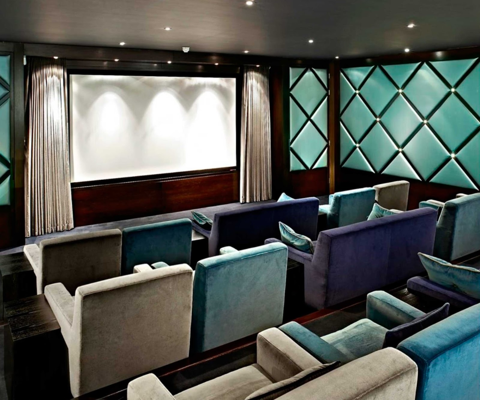 Home Theatre What Better Way To Protect And Conceal The Screen With Curtains On A Silent Gliss Autoglide Track That Can Be Operated Remotely From