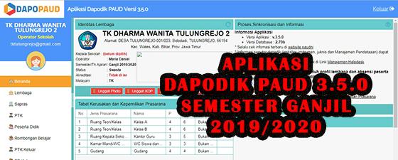 aplikasi dapodik paud 3.5.0 tahun ajaran 2019/2020