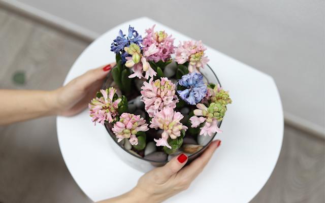 Jednoduchá jarní DIY dekorace ve váze s hyacinty a kamínky
