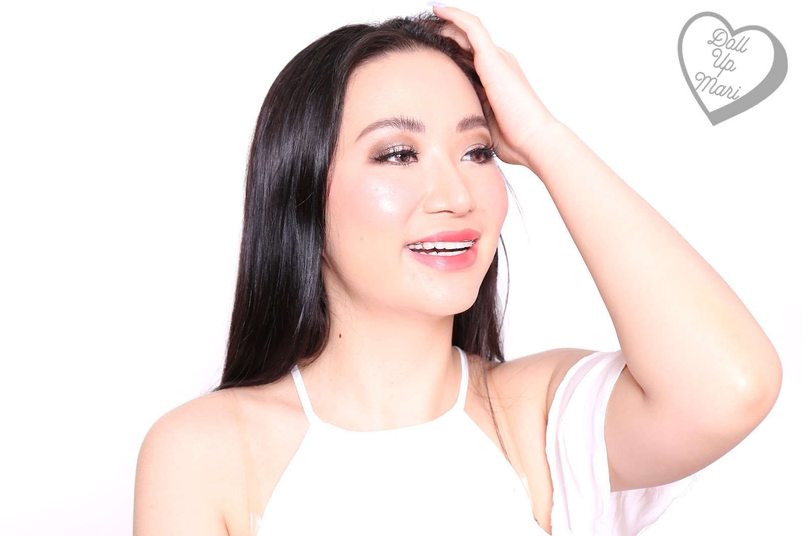 Mari wearing both sides of BLK Cosmetics K-Beauty K-Drama All-Day Intense Matte Lipstick in the shade of Dandelion