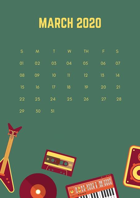 Fondo pantalla para iphone de calendario 2020 marzo