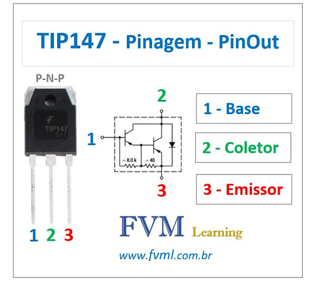 Pinagem - Pinout - Transistor Darlington - PNP - TIP147 - Características