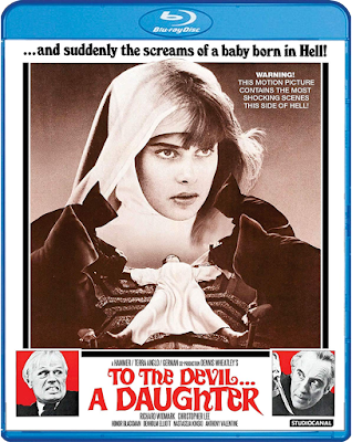 Cover art for Scream Factory's Blu-ray of TO THE DEVIL... A DAUGHTER!