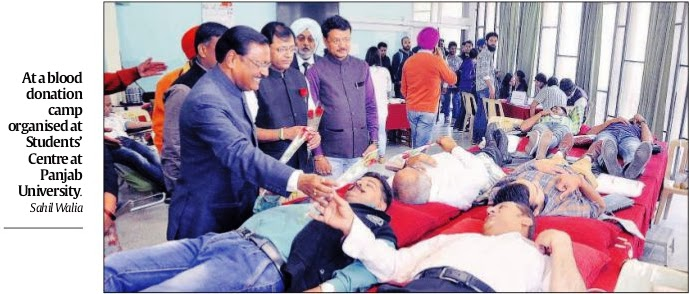 At a blood donation camp organised at Student's Centre at Panjab University