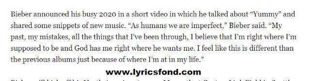 YUMMY LYRICS – Justin Bieber New Song Lyrics