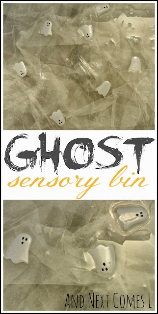 Simple floating ghost sensory bin for Halloween from And Next Comes L
