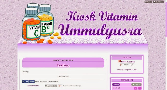 Tempahan Design Blog: Blog Kiosk Vitamin Ummulyusra