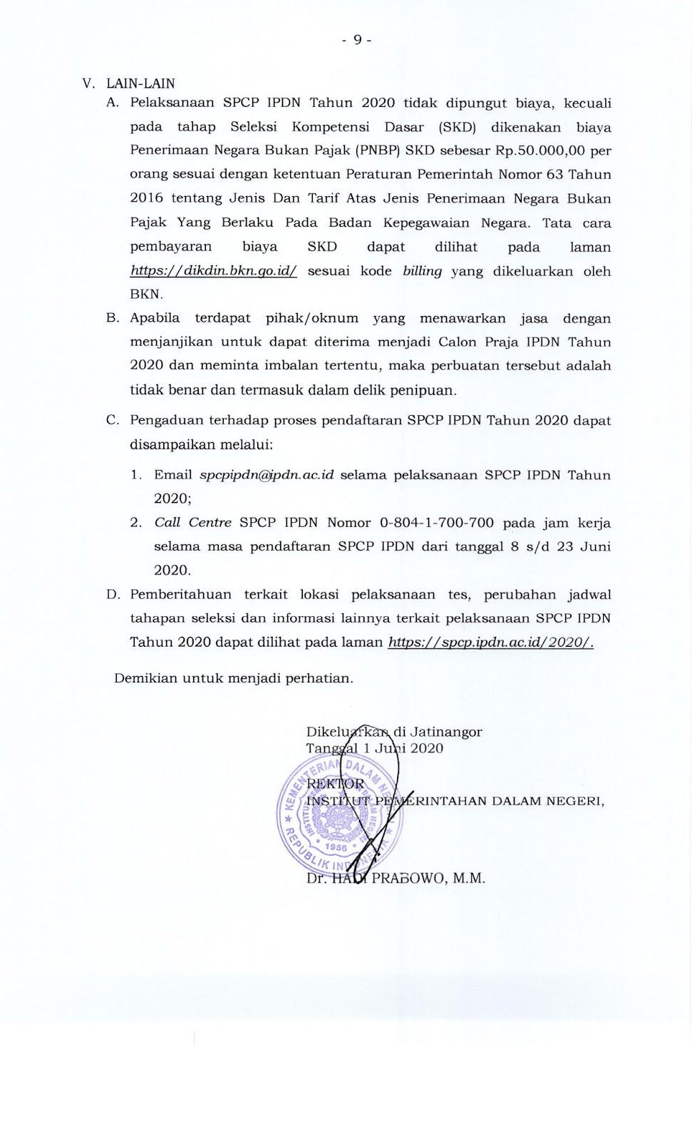 Seleksi Penerimaan Calon Praja Institut Pemerintahan Dalam Negeri (IPDN) Tahun 2020