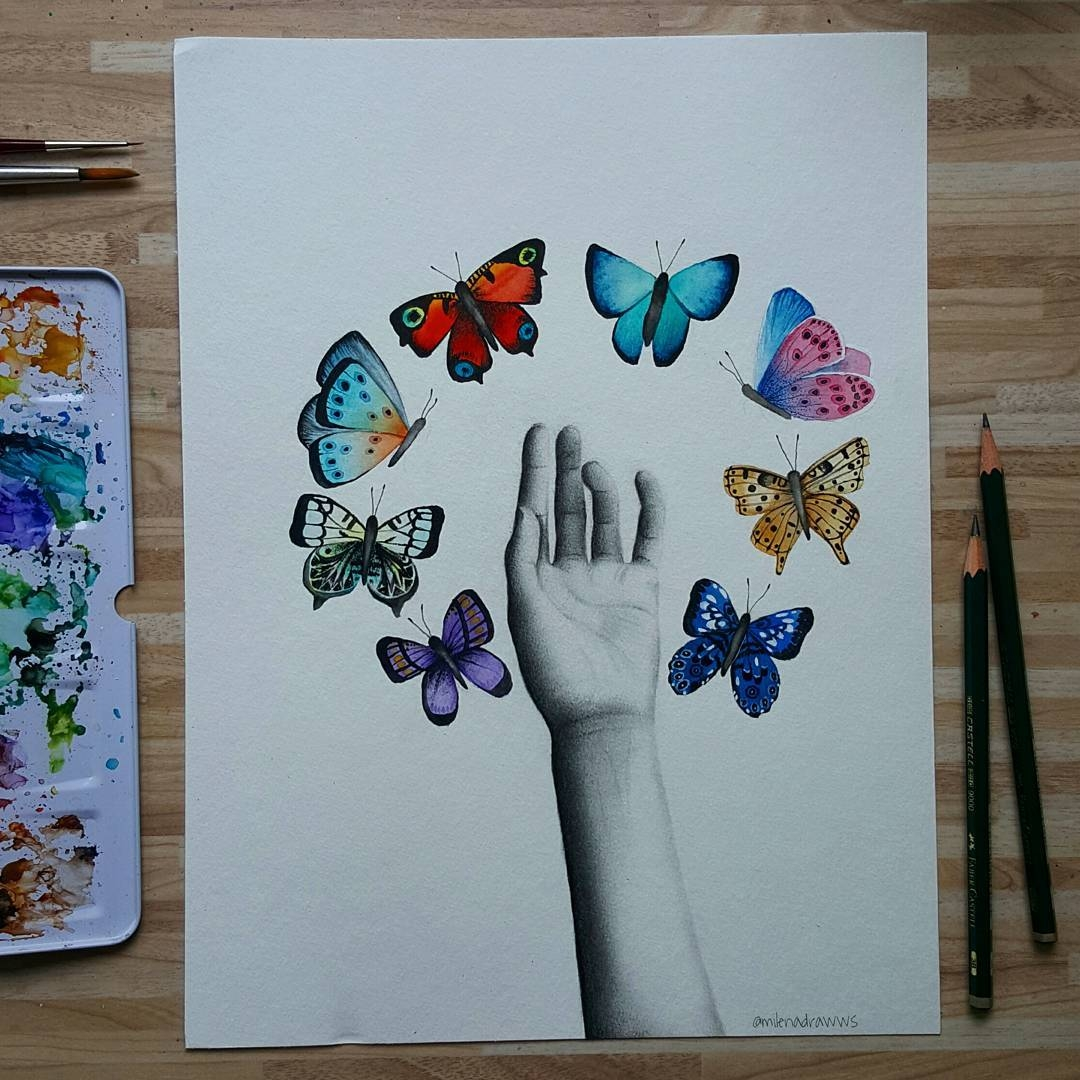 02-Butterflies-milenadrawws-Practising-Painting-and-Drawing-to-become-an-Artist-www-designstack-co