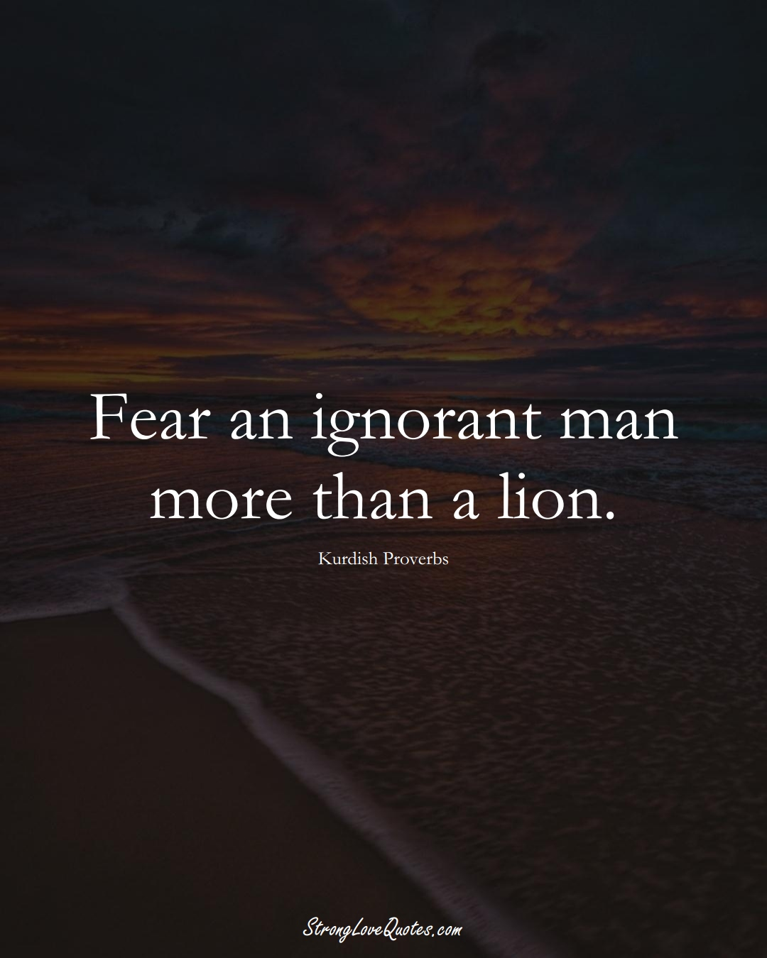 Fear an ignorant man more than a lion. (Kurdish Sayings);  #aVarietyofCulturesSayings