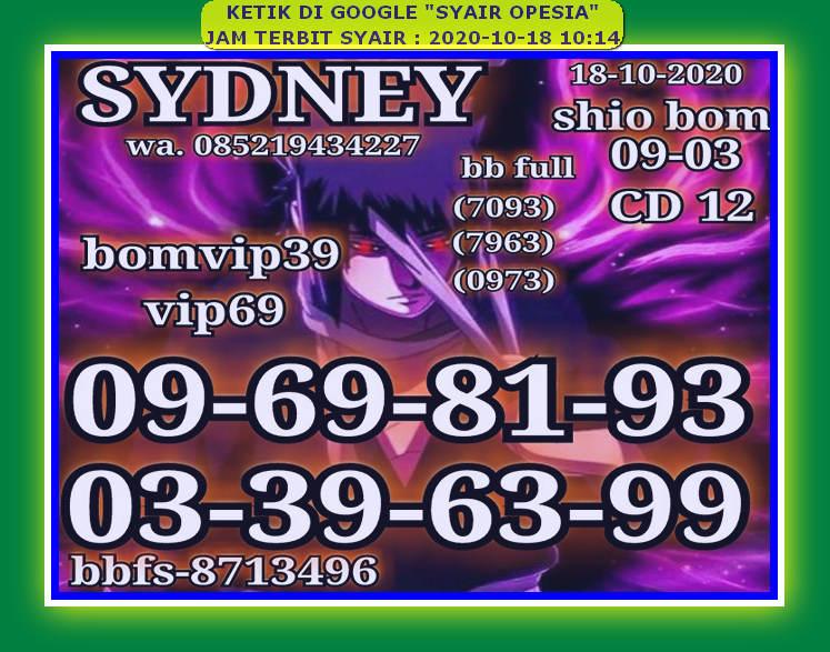 Kode syair Sydney Minggu 18 Oktober 2020 78