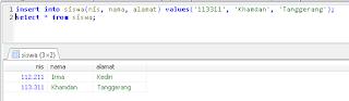 3 menambahkan data dalam tabel dengan perintah insert mysql dengan menyebutkan kolom