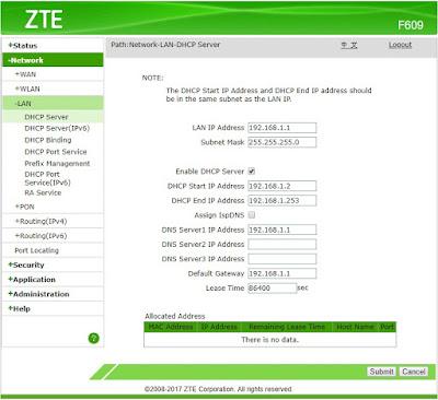 Default Konfigurasi IP Address ZTE F609