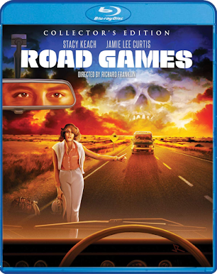 Cover art for Scream Factory's Collector's Edition Blu-ray of ROAD GAMES!