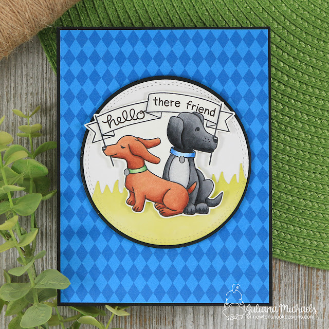 Hello Friend Card by Juliana Michaels featuring Newton's Nook Designs Simon Says Stamp Stamptember Hello Beautiful Stamp Set