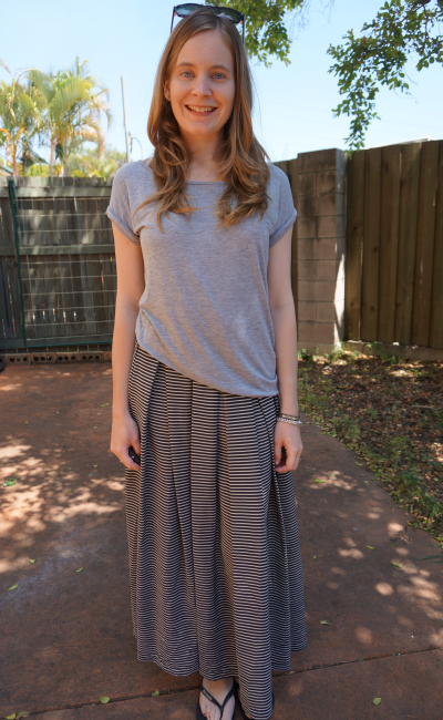 Jeanswest grey tee striped pleated maxi skirt half tuck to side