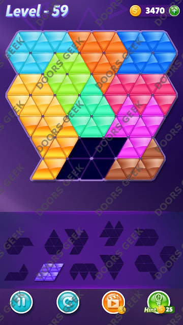 Block! Triangle Puzzle Challenger Level 59 Solution, Cheats, Walkthrough for Android, iPhone, iPad and iPod