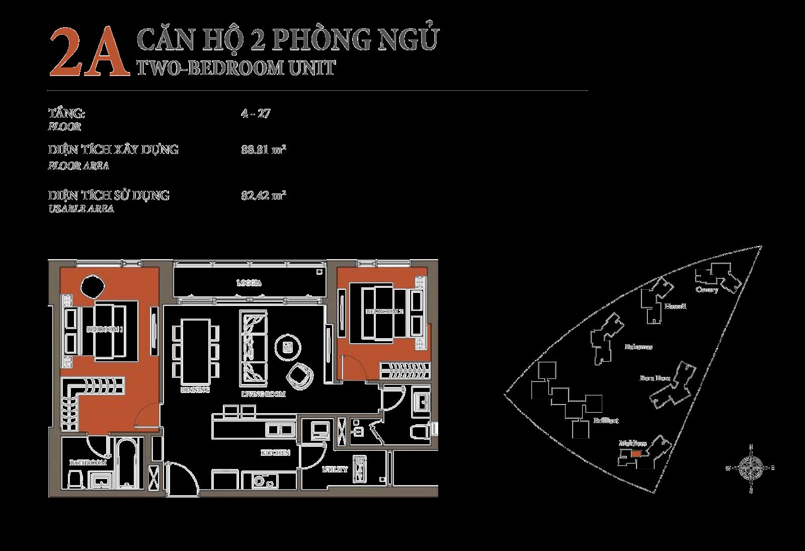 tòa mandives đảo kim cương, căn hộ 2 phòng ngủ