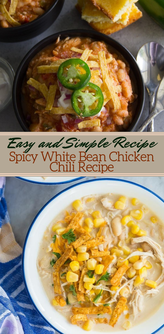 Spicy White Bean Chicken Chili Recipe #dinnerrecipe #food #amazingrecipe #easyrecipe