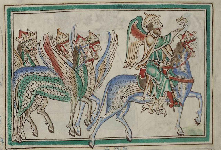 Anticristo. Apocalipse glosado. Mestre de Sarum. 1240-1250, Salisbury, Inglaterra. Biblioteca Nacional de França.