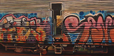 Plein air oil painting of derelict carriage with grafitti, North Eveleigh Heritage Store, Historic Electric Traction, painted by industrial heritage artist, Jane Bennett