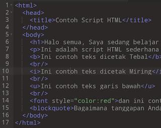 Contoh Script HTML Sederhana dalam pembuatan Website