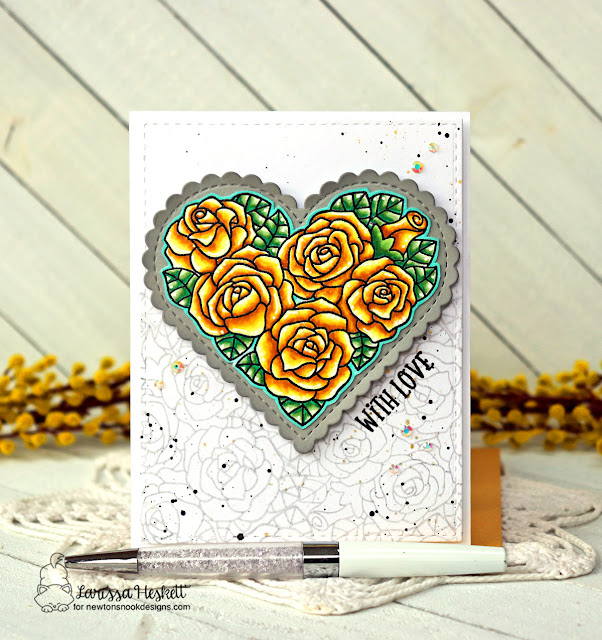 With Love card by Larissa Heskett | Heartfelt Roses Stamp set and Heart Frames Die Set by Newton's Nook Designs