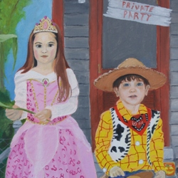 Private Party (AvaGrace and Riley, Halloween 2013), oil on canvas
