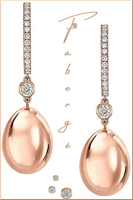 Fabergé Essence rose gold diamond set egg drop earrings #brilliantluxury