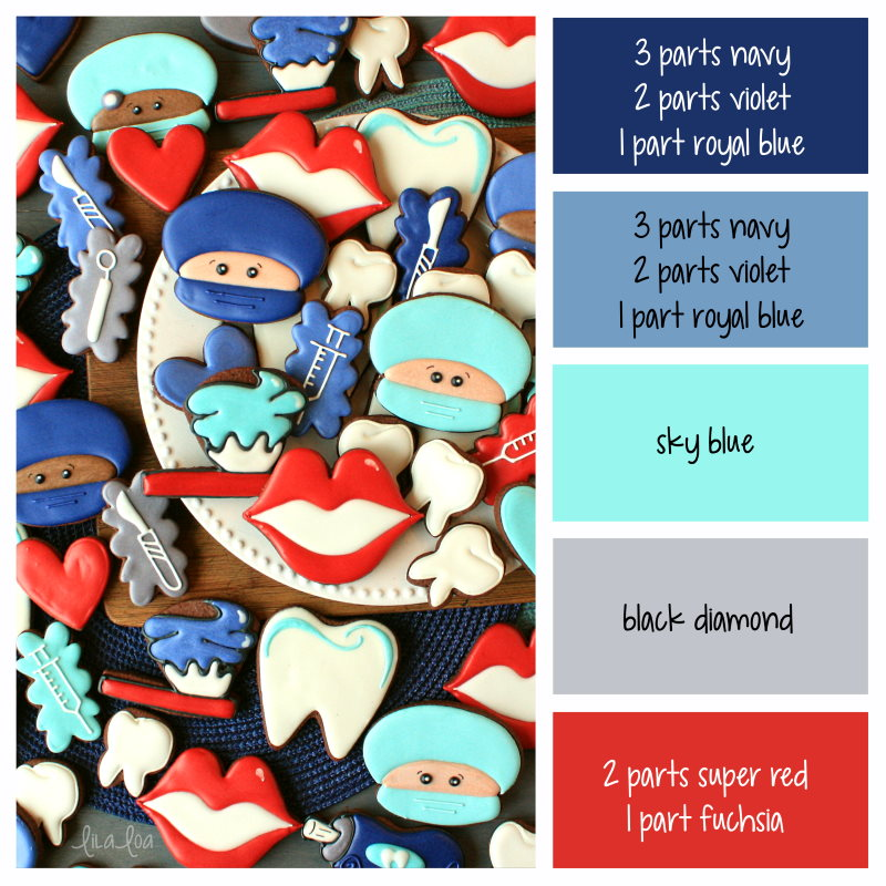 dentist and surgeon decorated chocolate sugar cookies