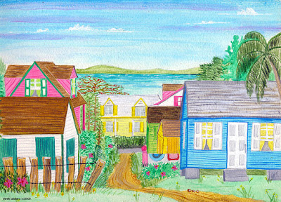 Top of hill Harbour Island, looking over colorful homes towards Eleuthera.
